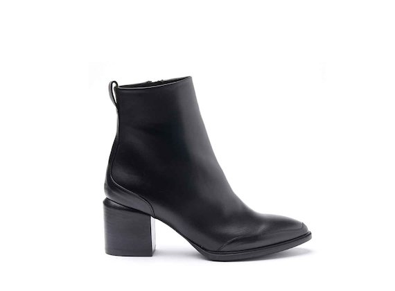 Ankle boots with leather-covered heel