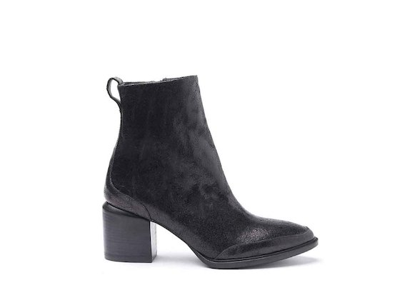 Laminated crackled leather ankle boots with leather-covered heel