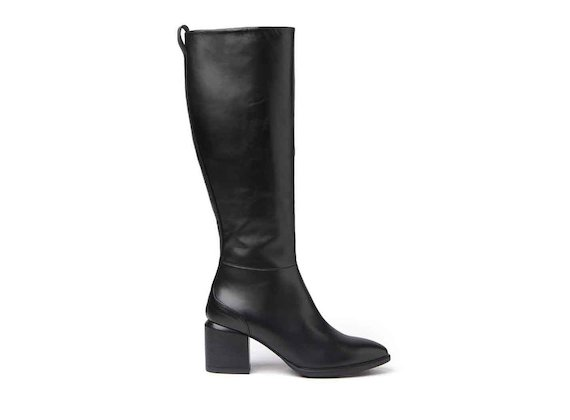 Black zip-up ankle boots with leather-covered heel