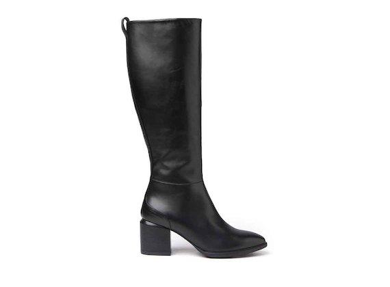Bottes noires zippées à talon revêtu de cuir