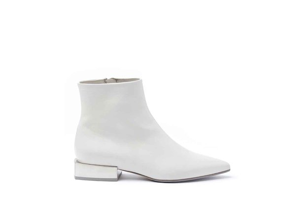 Ice-coloured leather heeled ankle boots with metallic block heel