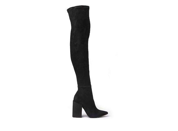 Stretch suede thigh-high boots with black block heel