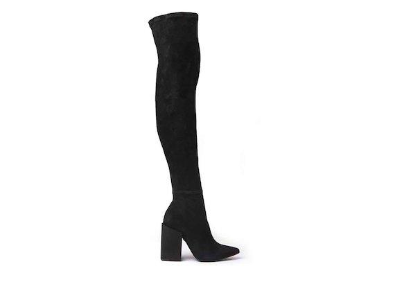 Overknee-Stiefel aus Stretch-Veloursleder mit eckigem Absatz in Schwarz
