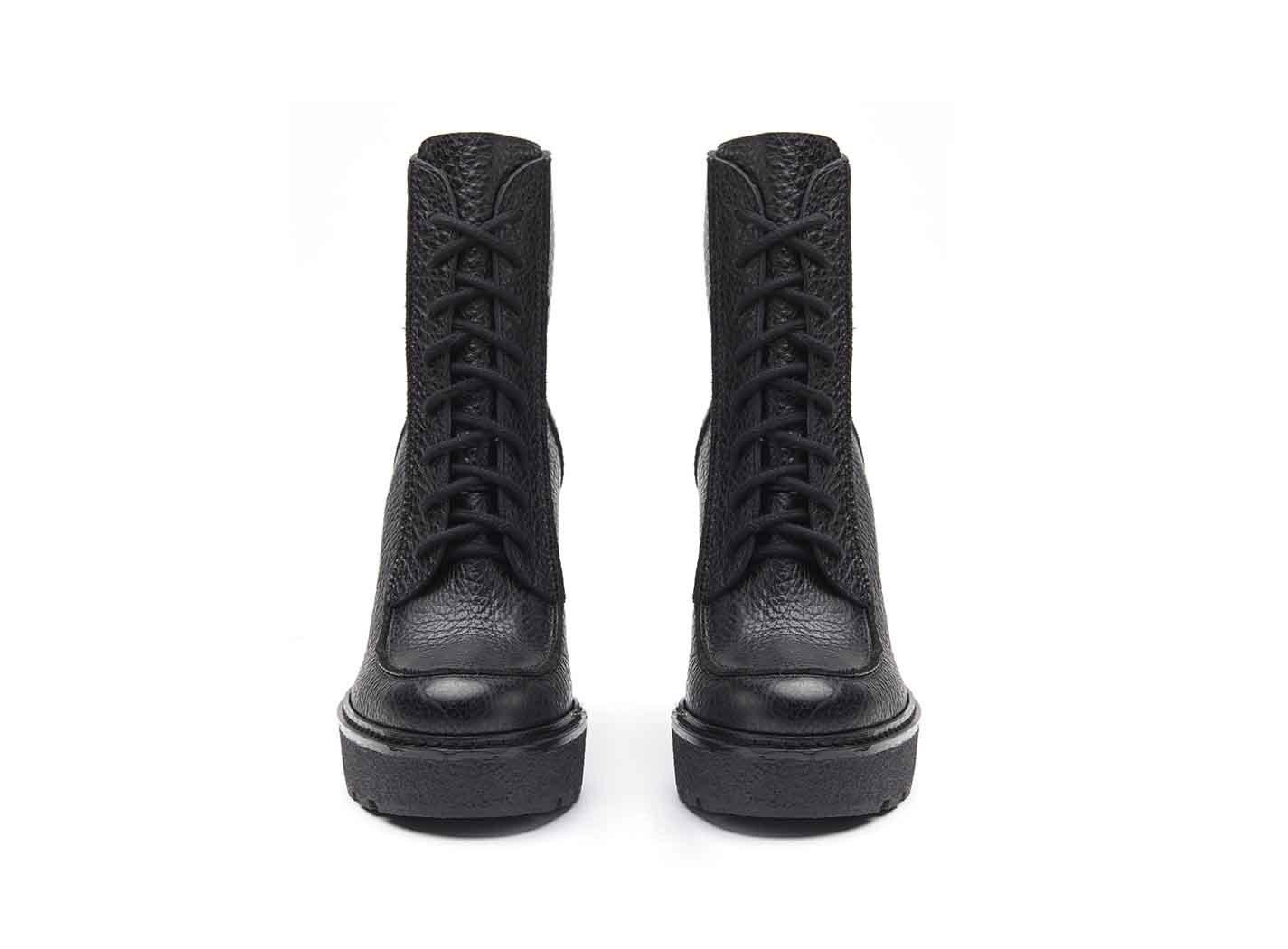 cuir plateforme aspect en revêtu cuir crêpe talon noir Bottines et à avec de lacets EDH9I2