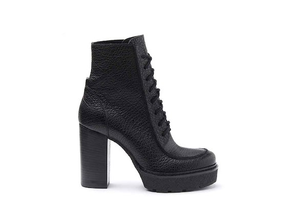Black leather lace-up heeled ankle boots with crepe platform and leather-covered heel