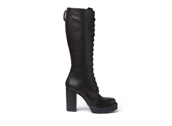 Lace-up ankle boots with crepe platform and leather-covered heel