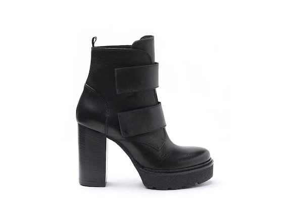 Heeled ankle boots with Velcro straps, crepe platform and leather-covered heel