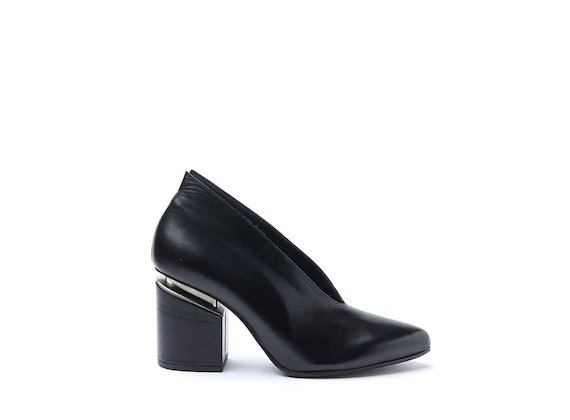 Black leather court shoes with suspended heel