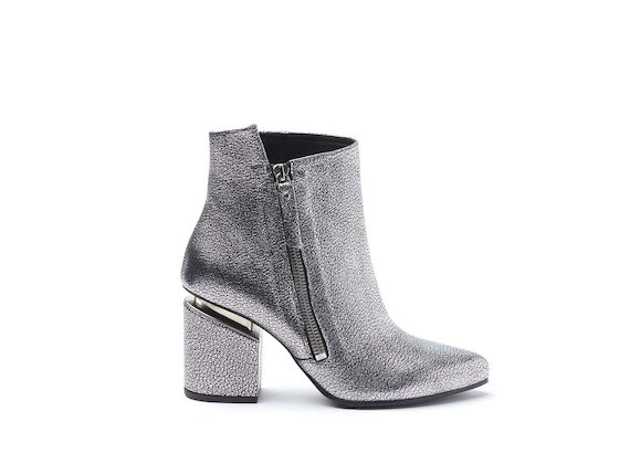 Silver laminated leather heeled ankle boots with maxi zip and suspended heel