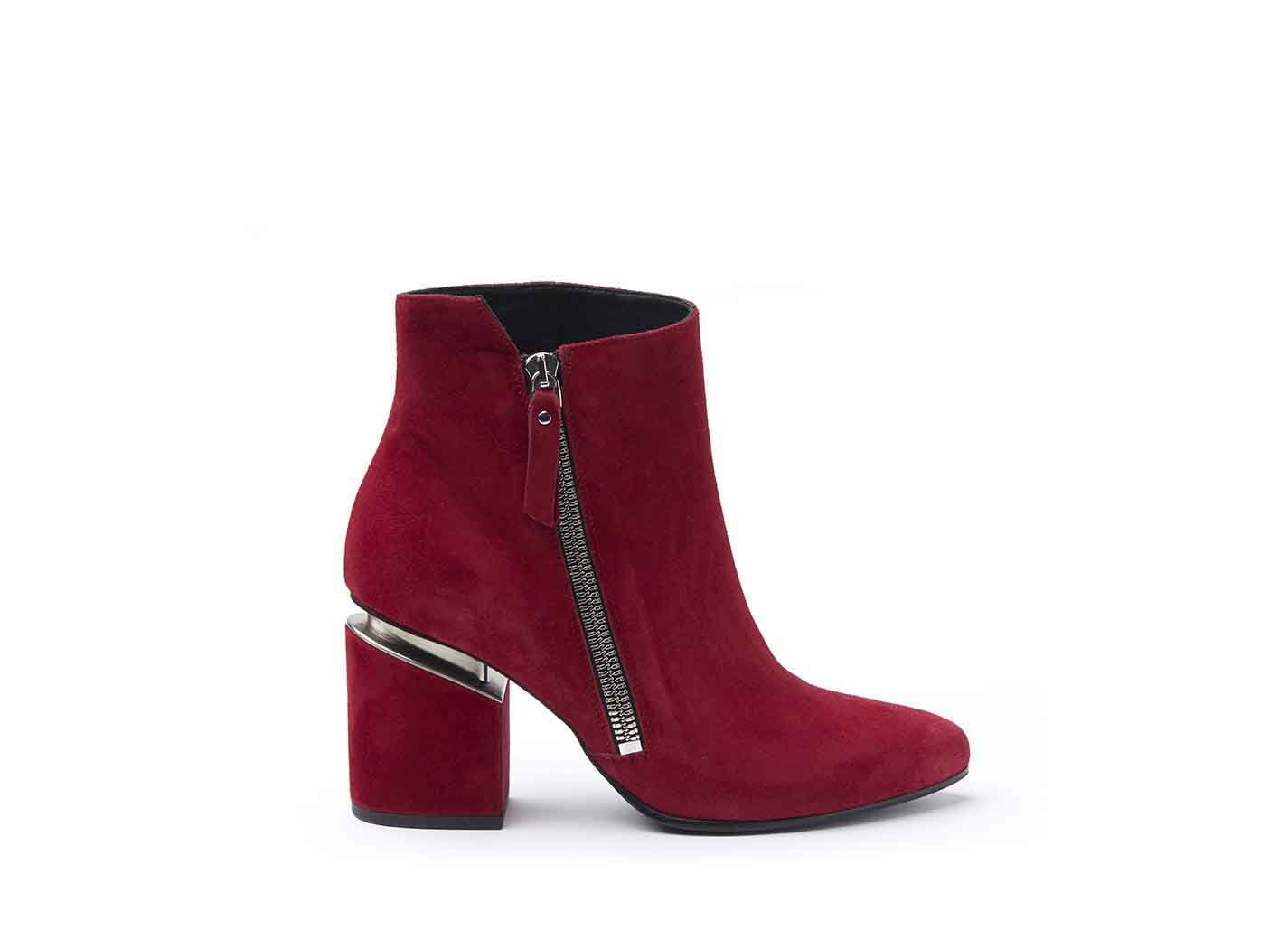 Red suede heeled ankle boots
