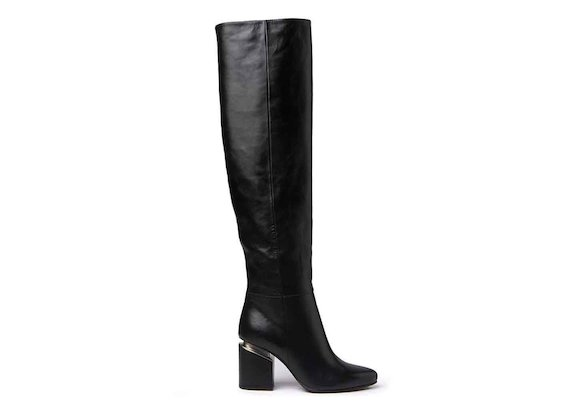 Black leather stove pipe boots with suspended heel