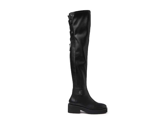 Stretch thigh-high boots with rubber sole