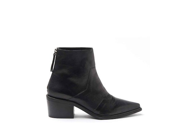 Heeled cowboy ankle boots with metallic black coating