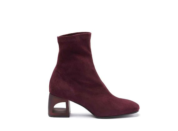 Burgundy stretch suede heeled ankle boots with perforated heel