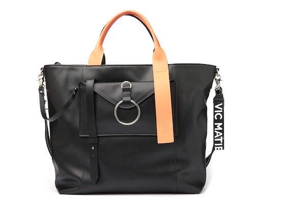 Antonia <br />Shopper bag with contrasting orange handle