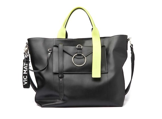 Antonia <br />Shopper bag with contrasting neon yellow handle