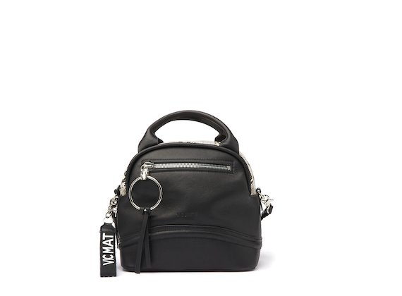 Elenoire<br />Black bowler bag with snakeskin-effect top