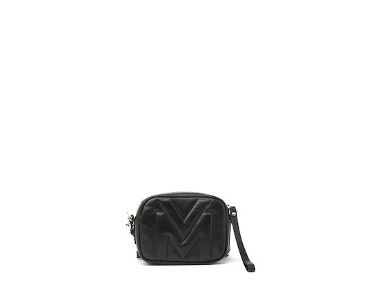 Melody<br />Black mini bag with quilted logo