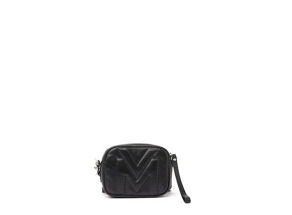 Melody<br />Mini sac noir avec logo matelassé