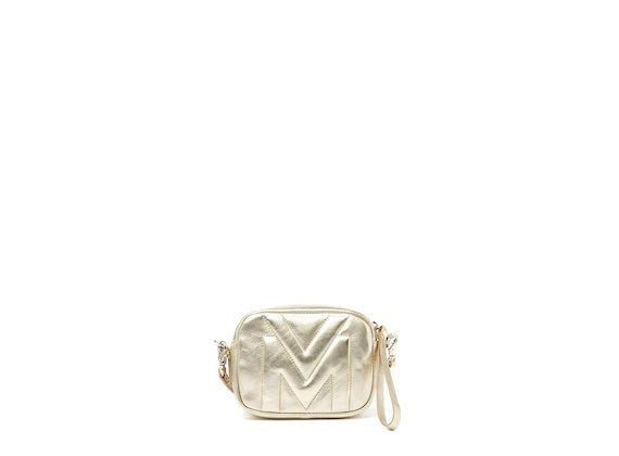 Melody<br />Gold mini bag with quilted logo