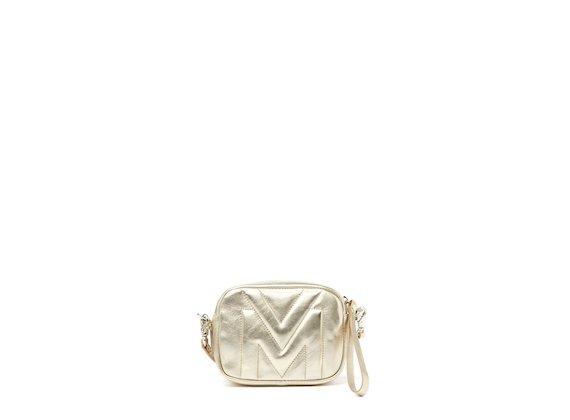 Melody<br />Mini-bag con logo trapuntato oro