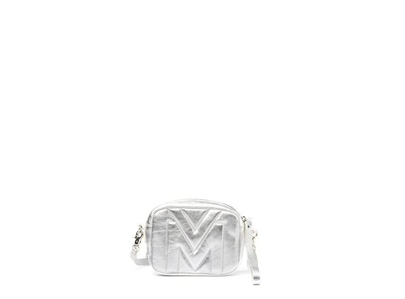 Melody<br />Silver mini bag with quilted logo