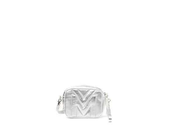 Melody<br />Mini-bag con logo trapuntato argento