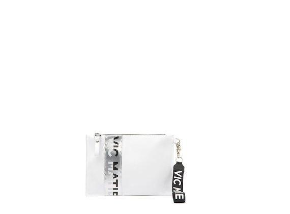 Madeline<br />Pochette blanche/argent avec logo