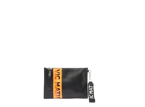 Madeline<br />Black clutch with orange logo