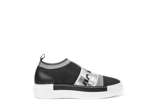 Black sock sneaker with silver logo