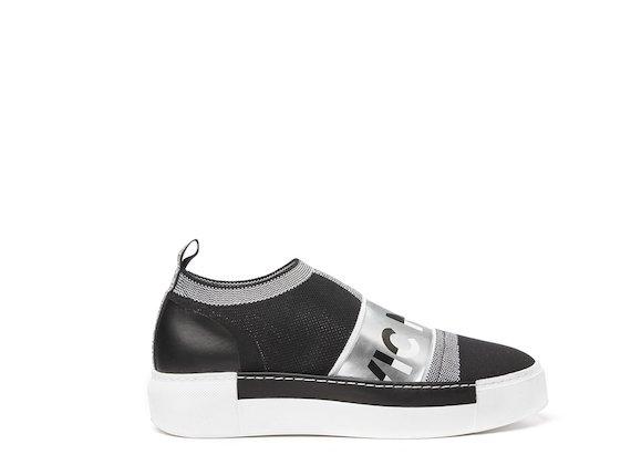 Black sock sneaker with silver logo