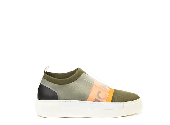 Military green sock sneaker with orange logo