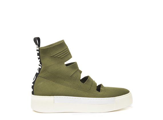 Military green cut-out sock sneaker