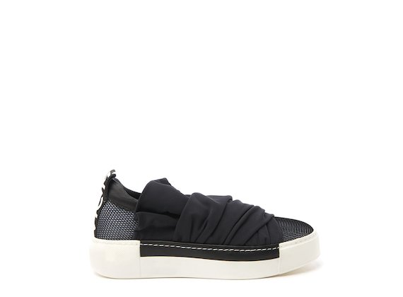 Black mesh sneaker with draped fabric strips