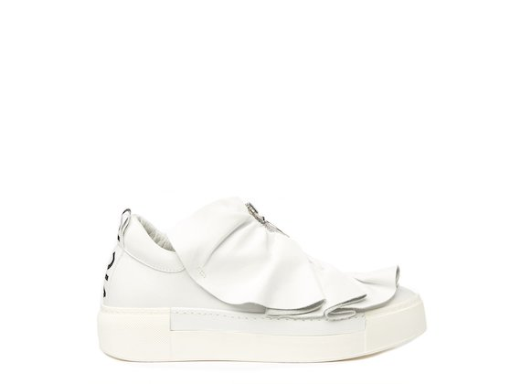 White shoe with metal zip and ruches