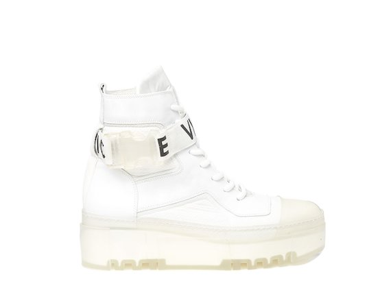 White combat boot with transparent sole