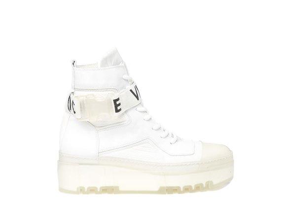 Combat boot bianco con suola trasparente