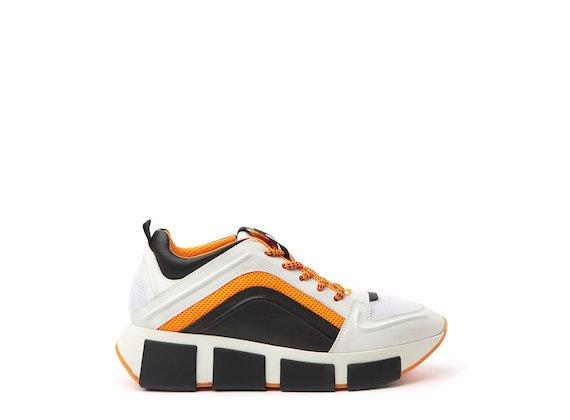 White/orange running shoe