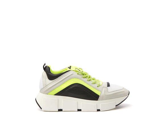 Ice/neon yellow running shoe