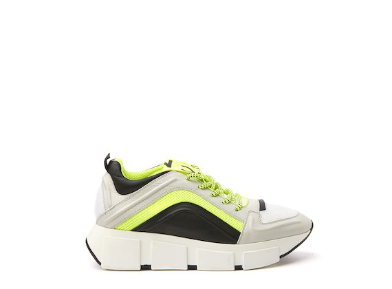 Ice/neon yellow running shoe