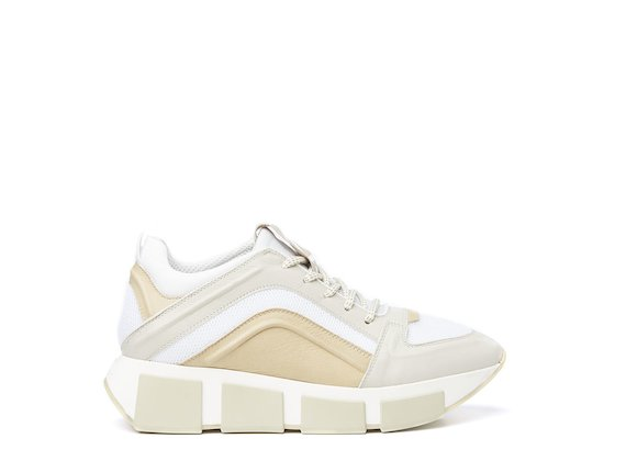 Beige running shoe