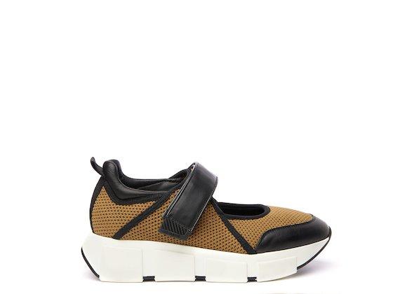 Brown mesh baby running shoe
