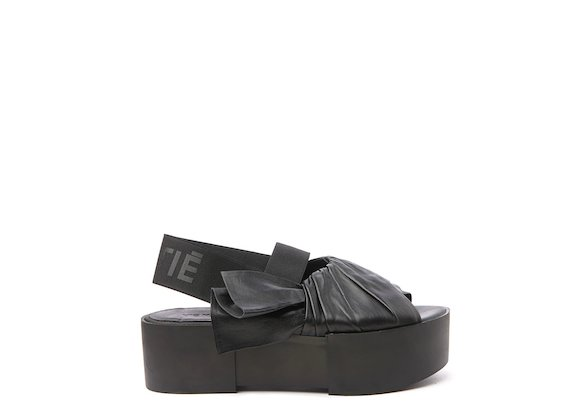 Black sandal with draped upper