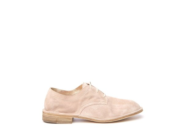 Pink unlined Derby shoe