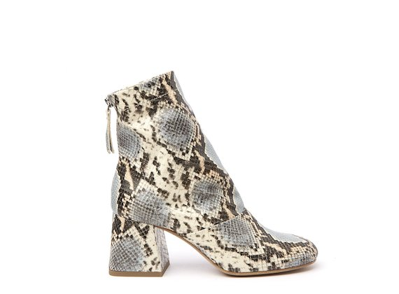 Snakeskin-effect ankle boot with flared heel