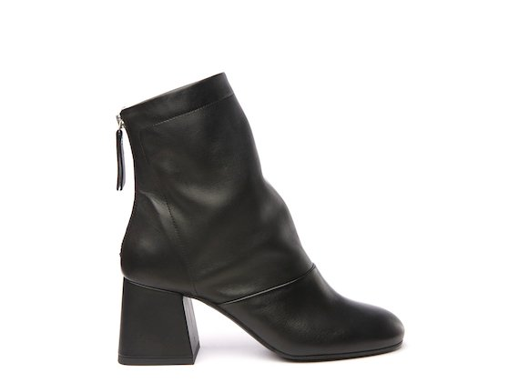 Black ankle boot with flared heel