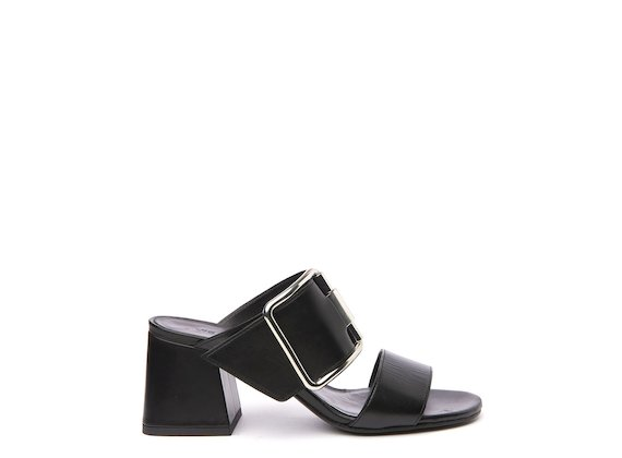 Black sandal with flared heel and buckle