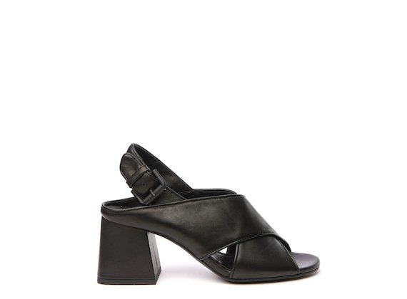 Black sandal with cross-over bands and flared heel
