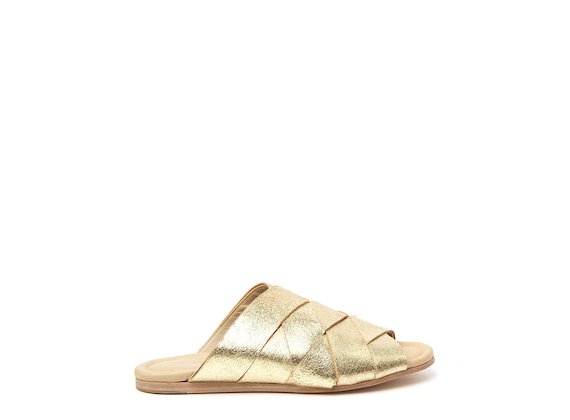 Überkreuzte Pantolette Goldfarben