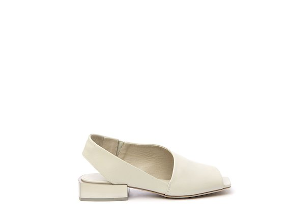 White peep-toe sandal with open heel